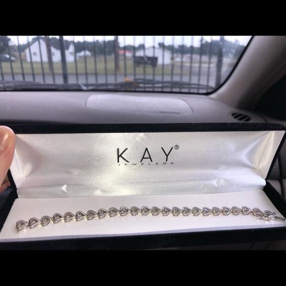 Kay Jewelers Jewelry - Diamond Sterling Silver Bracelet with hearts
